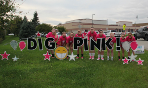 2018 West Allegheny HS - Team with Dig Pink Sign - fundraising ideas