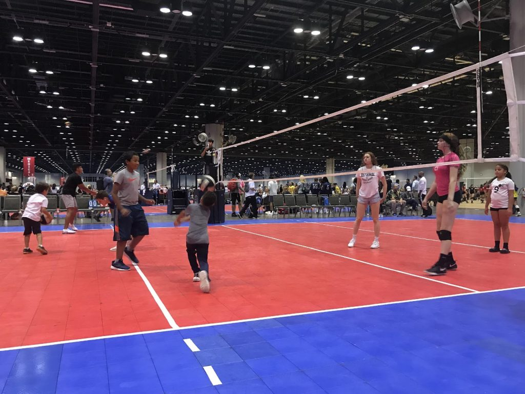 Playing volleyball at AAU