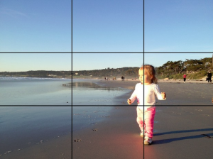 little girl on beach with gridlines